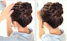 In this quick updo video, learn how to do an everyday Starburst Braided Bun hairstyle on yourself for medium or long hair lengths.