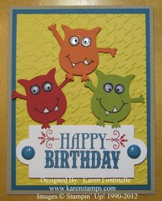 Stampin up - Owl Punch Three Monsters Male Birthday Card Birthday Cards For Boys, Bday Cards, Happy Birthday, Male Birthday, Owl Punch Cards, Manualidades Halloween, Owl Card, Monster Cards, Stamping Up Cards
