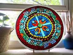 Stained Glass Mosaic Plate Decorative Mosaic by earthmothermosaics