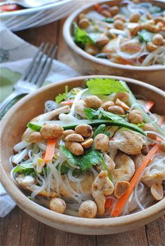 Vietnamese noodle salad with chicken (shirataki noodles are a great carb free substitute for rice noodles!