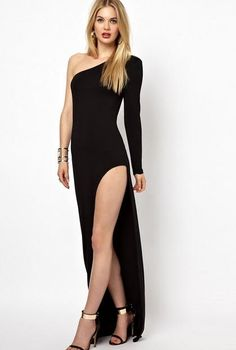 Black Long Straight Gala Dress with Single Long-sleeve and Slit – $24.79  #classywoman #womensfashion
