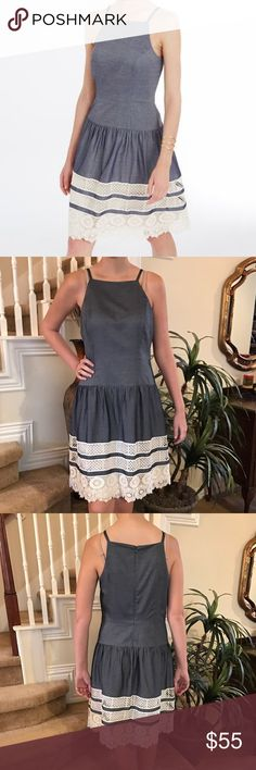 Ann Taylor Tiered Lace Chambray dress Adore this Ann Taylor!!! It features a dropped waist, beautiful tiered lace hemline, tank style with a zip up the back and fully lined. Perfect condition/never worn! Ann Taylor Dresses