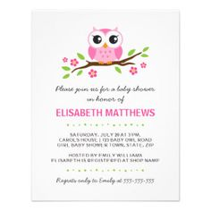 Owl Baby Shower Invitation Templates | Cute pink owl on floral branch girl baby shower invitation