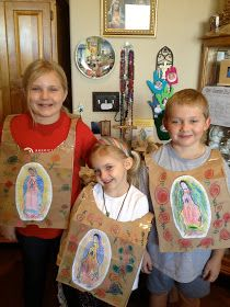Happy Feast of Our Lady of Guadalupe! +How special this year on Some of you may have seen this crafty idea from Domestic Ch. Bible Lessons For Kids, Bible For Kids, Vbs Crafts, Crafts For Kids, Christmas Present Costume, Boy Costumes, Costume Ideas, San Juan Diego, Saint Costume