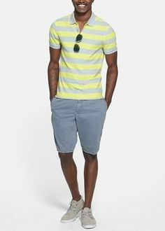 Classic weekend style - pair a polo with cotton shorts.
