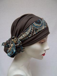 Head Scarf Chemo Cocoa Brown Alopecia  Soft Tencel by NinisNiche, $34.00
