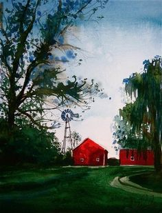 windmill and barn painting - Google Search
