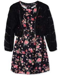 Bcx 2-Pc. Floral Dress & Lace Bomber Jacket, Big Girls (7-16)