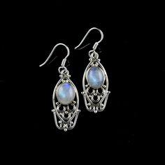 925 Sterling Silver Natural Rainbow Moonstone Gemstone Handmade Earring Jewelry #Handmade #DropDangle #Party