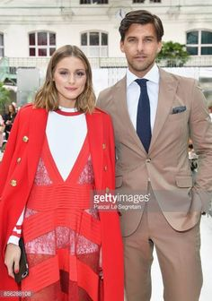 Olivia Palermo and Johannes Huebl attend the Valentino show as part of the Paris Fashion Week Womenswear Spring/Summer 2018 on October 1 2017 in...