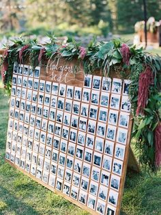 Stunning polaroid escort card wall: http://www.stylemepretty.com/2016/03/16/whimsical-summer-wedding-at-lake-tahoe-2/ | Photography: Ryan Ray Photo - http://ryanrayphoto.com/:
