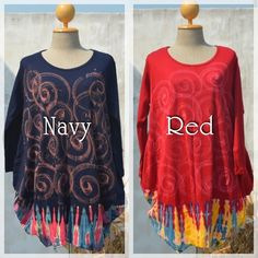 Art Paint Tops  Color: Navy and Red  #naturaleeza online store #hippiefashion