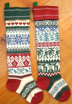 Pair of Personalized Christmas Stockings extra by TerrapinKnits Christmas Yarn, Christmas Stocking Pattern, Christmas Knitting, Christmas Items, Knitting Charts, Knitting Socks, Knitting Patterns, Knit Stockings, Knitted Christmas Stockings