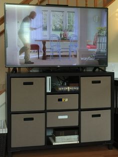 Threshold Cube Storage From Target Makes A Great And Inexpensive TV Stand!