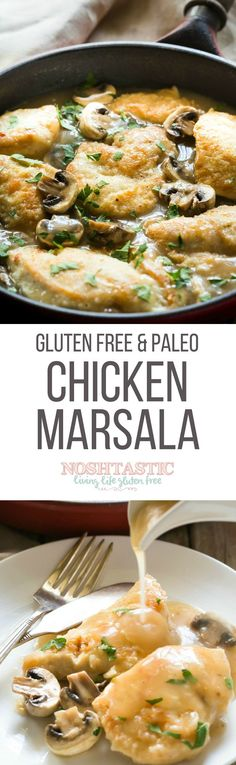 This easy Gluten Free Chicken Marsala recipe is made in one pan in less than thirty mins! You can make it Paleo too, nice served with pasta or mashed potato
