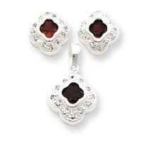 Sterling Silver Red CZ Earrings and Pendant Set - JewelryWeb JewelryWeb. $64.70. Save 50% Off!