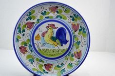 Vietri Galletto Rooster Chicken Hand Painted Italian Dinner Plate 10 7/8\  #vietri & Gucci Floral Gold Trim Porcelain Jewelry Dresser Trinket Dish ...