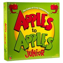 apples to apples jr.  words are easy for kids - and there aren't the words / celebrities they don't know.