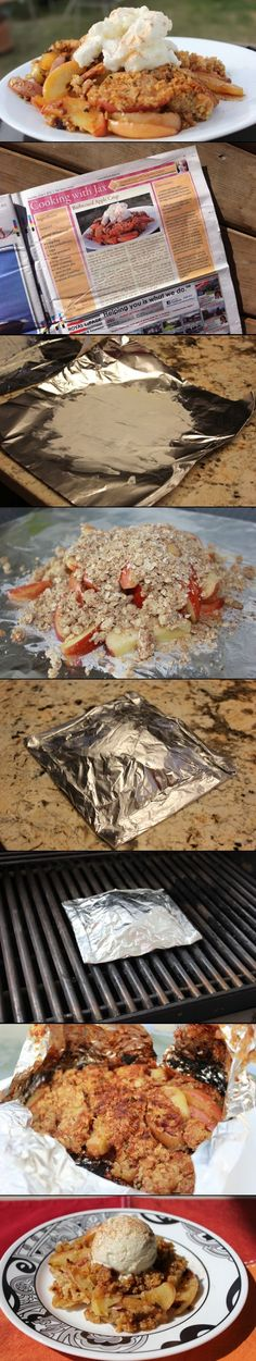 Throw your next apple crisp treat on the BBQ! Great way to make dessert when it's too hot to have the oven on.