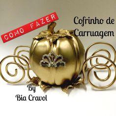 DIY - Carruagem da Cinderela - Cofre - Bia Cravol - biscuit - porcelanafria