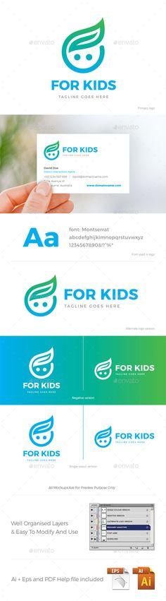 For Kids Logo Design Template Vector EPS, AI Illustrator. Download here: https://graphicriver.net/item/for-kids-logo/21966766?ref=ksioks