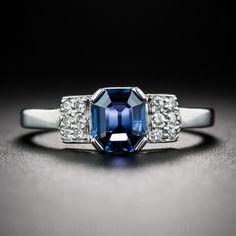 Petite Emerald-Cut Sapphire and Diamond Ring