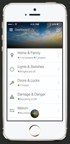 iPhone of SmartThings App for home automation