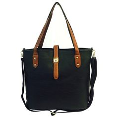 Best Black & Tan Vegan Leather Sack Tote Purse Over the Shoulder Handbag TravelNut Top Stylish Birthday Gift Idea Her Women Girlfriend Wife Unique Cool Stocking Stuffer Christmas Present. These stylish over the shoulder handbags are the perfect complement to your outfit!. Dress up every outfit with this colorful leather-like accessory with gold accents and natural leather like handles. Includes a removable strap as well--very versatile.Roomy enough to carry all your essentials but not so...