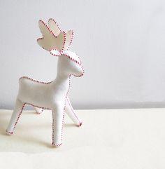 Wool Felt Reindeer, 11.5 Inches Tall, Waldorf Stuffed Animal, Large. $50.00, via Etsy.