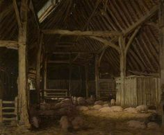 'An Interior of a Barn' (Date ?) by English artist Frederick William Elwell (1870-1958).
