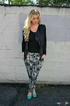 black and white harem pants