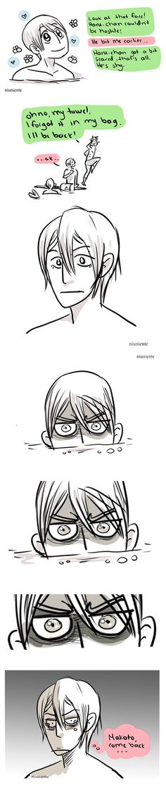 He's just shy ... part 2 ... Story 3 from the Haru lives in the Iwatobi pool ... Drawn by niuniente ... Free! - Iwatobi Swim Club, free!, iwatobi, makoto tachibana, makoto, tachibana, haru, haruka, nanase, haruka nanase, haru nanase, merman, rin, rin matsuoka, matsuoka