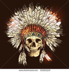 Hand Drawn Native American Indian Headdress With Human Skull. Vector Color Illustration Of Indian Tribal Chief Feather Hat And Skull - stock vector