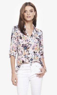 6ac8fc0a9209e floral print convertible sleeve portofino shirt from EXPRESS... perfect  transition piece for summer