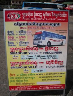 Bus Schedule to Phnom Penh, Kampot, and Koh Kong from Sihanoukville, Cambodia.
