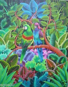 "ORIGINAL PAINTING HAITIAN ART ALIX G. CALIXTES 16"" x 20"" ETHNIC NAIF PRIMITIVE"