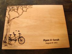 Personalized Cutting Board with Tree and Tandem Bike Couple's Anniversary Gift Wedding Present Bridal Shower Gift on Etsy, $45.00