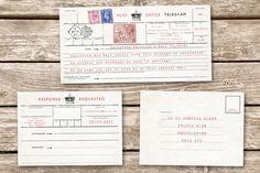 Telegram vintage wedding invitation with RSVP
