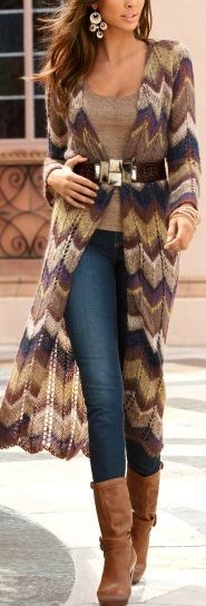 Love all the shades of brown in this long sweater/jacket!