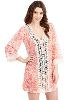 All Glam on Deck Cover-Up - Sheer, Woven, Coral, Crochet, Beach/Resort, Boho, 70s, Travel, Festival, Cover-up, Print, Summer