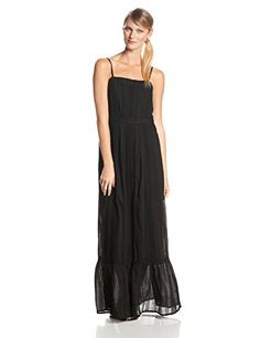 Twelfth Street By Cynthia Vincent Women's Lace Inset Cotton Voile Maxi Dress, Black, Small