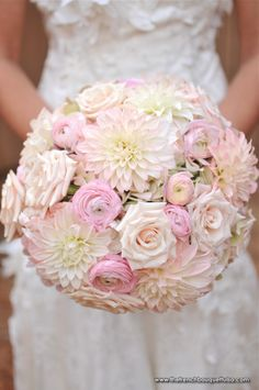 Lovely Soft Pink Bridal Bouquet with Roses Dahlias and Ranunculus