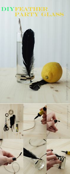 Feather Glass | 6 Gorgeous DIY Drinking Glasses To Make Before Summer's Over