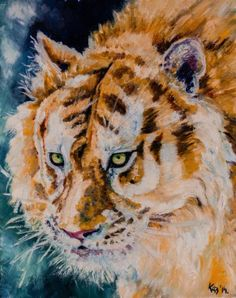 Yellow Tiger - original oil wildlife painting by KAB 8 x 10 inch