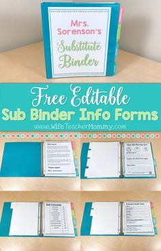 These FREE editable substitute binder forms are perfect for elementary teachers! All you need to do is fill in your info and put them in your sub binder. You will love this FREE sub binder! It includes important information that your substitute will want to know.