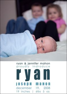 Custom Photo Birth Announcement - Rylee. $15.00, via Etsy.  Super cute pic idea for birth announcement with siblings