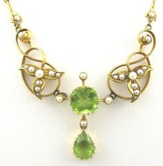 Peridot is the August birthstone. Some lists name pearls as the June birthstone. This necklace is a stunning way to combine those birthdates. Peridots and seed pearls, set in Gold. Art Nouveau Jewelry, Jewelry Art, Jewelry Necklaces, Fine Jewelry, Women Jewelry, Pearl Jewelry, Gold Jewelry, Fashion Jewelry, Peridot Jewelry