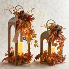 I love these beautiful home accents for the fall! Home decorations are the easiest way to make your home look seasonal and cozy. Pumpkins, wall decor, and trinkets are perfect for a rustic farmhouse look. Orange Floral Lanterns with LED Flameless Candle Fall Lanterns, Lanterns Decor, Metal Lanterns, Fall Lantern Centerpieces, Decoration Haloween, Fall Arrangements, Autumn Decorating, Decorating Ideas, Autumn Crafts