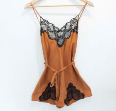 50's Vintage Silk and Lace Romper/lingerie/shorts