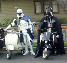 Vespa. The proper dress needed for them Seriously PMSL at this. Its genius!!   Star Wars legends!!